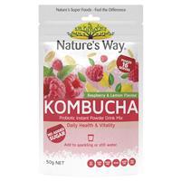 Nature's Way Raspberry & Lemon Kombucha Probiotic Drink Mix 50g