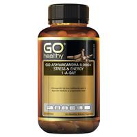 GO Healthy Ashwagandha 8000+  Stress & Energy 1-a-day 120 Vege Capsules Exclusive Size