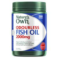 Nature's Own Odourless Fish Oil 2000mg – Source of Omega-3 – 200 Capsules
