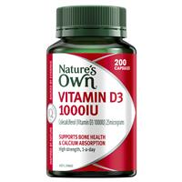 Nature's Own Vitamin D3 1000IU – Vitamin D – 200 Capsules